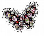 Ripped Torn Metal Butterfly Design With Mexican Sugar Skull Pattern Motif External Vinyl Car Sticker 125x90mm